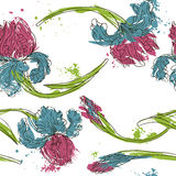 Floral seamless pattern with irises Royalty Free Stock Image