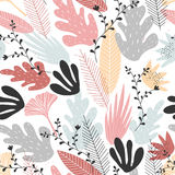 Floral seamless pattern with large elements in soft colors. Pattern with slight lateral dynamics Royalty Free Stock Images