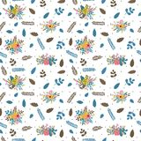 Floral seamless pattern with leaves, branches and flowers. Cute spring floral background for your design Royalty Free Stock Images