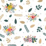 Floral seamless pattern with leaves, branches and flowers.  Stock Photography