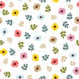 Floral seamless pattern with leaves and flowers. Royalty Free Stock Photo