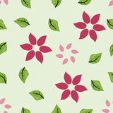 Floral seamless pattern with leaves and flowers. Floral seamless pattern with green leaves and pink flowers Royalty Free Stock Photos