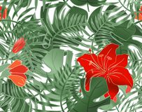 Floral Seamless pattern of leaves monstera, hibiscus and birds. Tropical plants, leaves of palm tree. Seamless summer pattern vector illustration