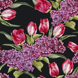 Floral seamless pattern with lilac and tulips Royalty Free Stock Photos