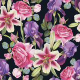 Floral seamless pattern with lilies, roses and irises Royalty Free Stock Photo