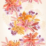Floral  seamless pattern with lily  flowers in watercolor style Stock Images