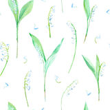Floral seamless pattern with lily of the valley flowers. Watercolor hand drawn illustration Stock Photo
