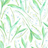 Floral seamless pattern with lily of the valley flowers. Watercolor hand drawn illustration Royalty Free Stock Photo