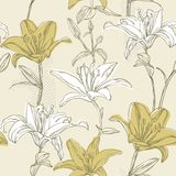 Floral seamless pattern with lily Royalty Free Stock Image