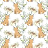 Floral Seamless Pattern Line Art Royalty Free Stock Images
