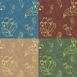 Floral seamless pattern with lines of tulips and h Royalty Free Stock Photography