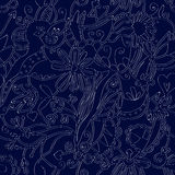 Floral seamless pattern linework ethnic Royalty Free Stock Photography