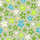 Floral seamless pattern with little bright flowers. Cute floral seamless pattern with little bright flowers on grey background Royalty Free Stock Photo
