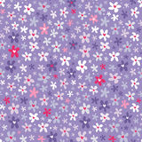 Floral seamless pattern with little bright flowers. Cute floral seamless pattern with little bright flowers on light purple background Royalty Free Stock Photo