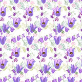 Floral seamless pattern made of blue spring flowers. Stock Photography