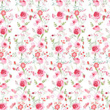 Floral seamless pattern made of pink roses and stylized flowers. Stock Photography