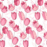 Floral seamless pattern made of pink tulips. Endless texture for romantic and wedding design, decoration,  greeting cards, posters,  invitations, advertisement Stock Images