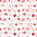 Floral seamless pattern made of red roses and stylized flowers. Stock Images