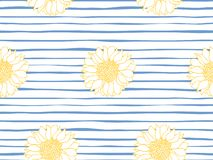 Floral seamless pattern. Marine stripe wallpaper. Vector illustration royalty free illustration