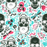 Floral seamless pattern with monochrome human skulls  Stock Image