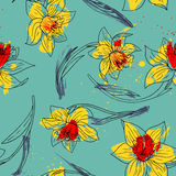 Floral seamless pattern with narcissus Royalty Free Stock Photo