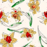 Floral seamless pattern with narcissus Stock Photo