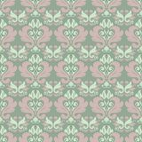 Floral seamless pattern. Olive green background with pale pink flower elements. For wallpapers, textile and fabrics Royalty Free Stock Images