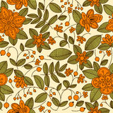 Floral seamless pattern with orange berries Stock Images