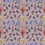 Floral seamless pattern with orchid and rose in vector. Very cute and awesome stock illustration