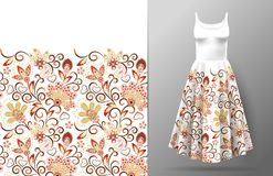 Floral seamless pattern with oriental hand drawing ornament. Vector illustration in asian textile style. Women`s dress. Mock up. Red and beige on white Stock Images