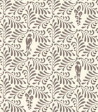 Floral seamless pattern. Ornament with stylized leaves, birds, flowers Royalty Free Stock Images