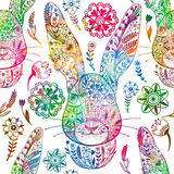 Floral seamless pattern with ornamental rabbit.  Royalty Free Stock Photos