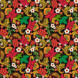 Floral seamless pattern ornaments on black background Royalty Free Stock Photos