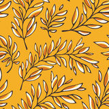 Floral seamless pattern with outline branches Stock Photography