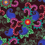 Floral seamless pattern over claret background Stock Photos
