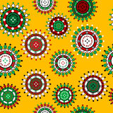 Floral seamless pattern over yellow  background Royalty Free Stock Photos