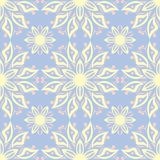 Floral seamless pattern. Pale blue background with beige and pink flower elements. For wallpapers, textile and fabrics Royalty Free Stock Photo