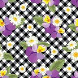 Floral seamless pattern. Pansies with chamomiles on black and white gingham, chequered background. Vector illustration. Floral seamless pattern. Pansies with royalty free illustration