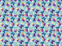 Floral seamless pattern. Pansies with chamomiles on blue polka dot background. illustration stock illustration