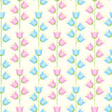Floral seamless pattern of pastel blue and pink colored bellflow Stock Photo