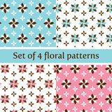 Floral Seamless Pattern in Pastel Pink and Blue stock photo