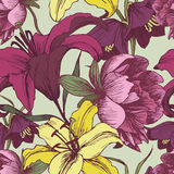 Floral seamless pattern with peonies and lilies. Stock Photo
