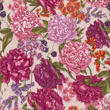 Floral Seamless Pattern with Peonies in Vintage Stock Image