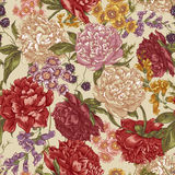 Floral Seamless Pattern with Peonies in Vintage Royalty Free Stock Images