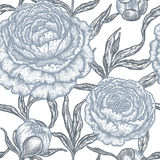 Floral seamless pattern with peony flowers. Stock Photo