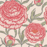 Floral seamless pattern with peony flowers. Royalty Free Stock Image