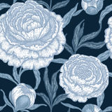 Floral seamless pattern with peony flowers. Stock Photos