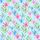 Floral seamless pattern of a pink and blue bell. vector illustration