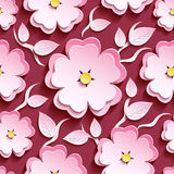 Floral seamless pattern pink 3d sakura and leaves. Romantic trendy maroon background seamless pattern with white, pink ornate 3d flower sakura - japanese cherry Stock Images