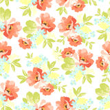 Floral seamless pattern with pink flowers Stock Photo